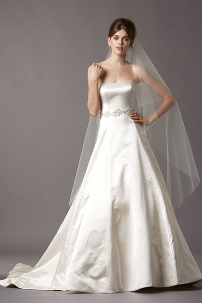 strapless watters wedding gown